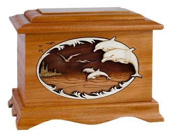 Mahogany Dolphins Ambassador Wood Cremation Urn