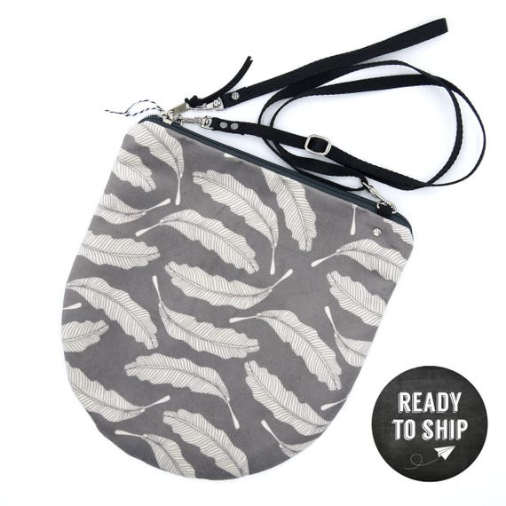 "Grey graphic ""feather"" shoulder bag, LARGE brushed Poly Pochette"