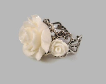 Rose Ring White Adjustable Ring Silver Filigree Rose Jewelry Flower Ring