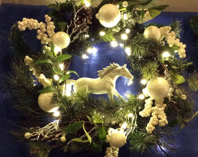 Equestrian Horse Christmas Winter Holiday Wreath