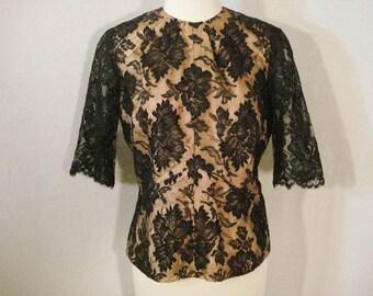 Vintage 50s Black Lace Illusion Blouse Hollywood Glam Metal Zipper M