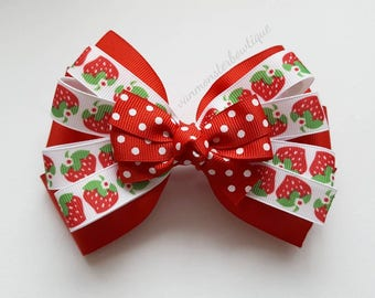 Summer Strawberries Hair Bow