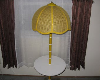 Vintage end table floor lamp round yellow wicker shade formica table msg with zip code for accurate shipping estimate