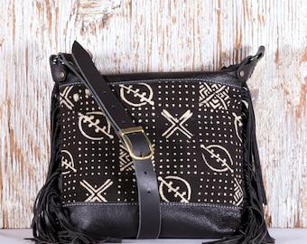 Black Leather Fringe Bag - Black Leather Festival Bag - Black Leather Cross Body Bag - Black Leather Bag with Fringe