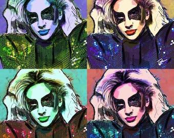 "Limited Edition Print.  "" Lady Gaga "" Digital Art, Wall art, painting. print, Acrylic painting."