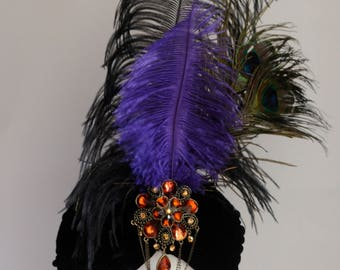 Handmade Turban with feathers - can choose colours and materials