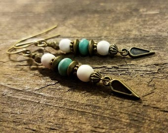 Beach Earrings, Boho Earrings, Drop Earrings, Bronze Earrings, Turquoise Earrings