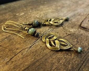 Boho Earrings, Bronze Earrings, Leaf Earrings, Earthy Earrings