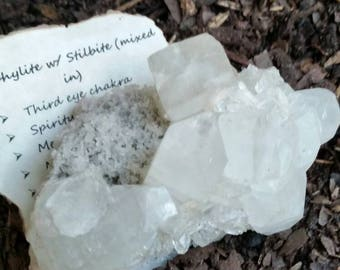 Apophyllite w/ Stilbite Specimen.Strengthens Our Connection With The Spirit World & Our Spirit Guides/Angels/Totems. Brings Divine Light.