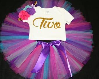 Pink Tutu Set,  Birthday Set, Second Birthday, Purple Birthday Tutu, Pink purple Second Birthday Tutu Set, 2nd Birthday Tutu Outfit, Tutu