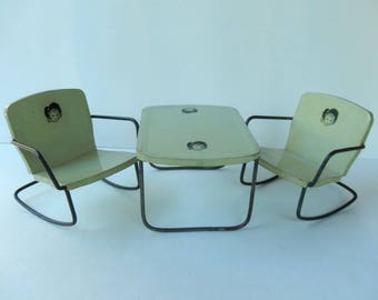 Vintage Metal Doll Table And Chairs ~ 3 Piece Tin Toy Furniture ~ Doll Face ~ 40's