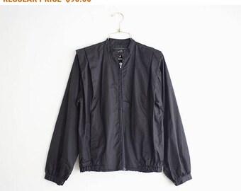 80's Black Windbreaker, Vintage Lightweight Nylon jacket, Black Motorcycle Jacket Size M Medium