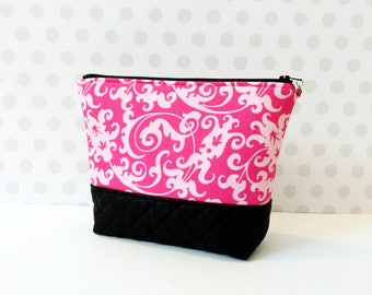Pink Damask Large Makeup Pouch