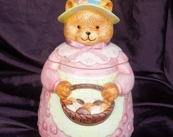 COOKIE JAR ~  Musical Bear with cookies,  San Francisco Music Box Co.  1990