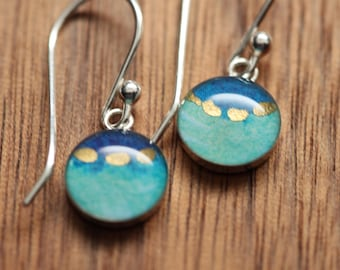 Tiny turquoise and gold earrings made from recycled Starbucks gift cards. sterling silver and resin.