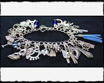 Blue Charm Bracelet with Flogger / Whip Charm // Fifty Shades of Grey Inspired // BDSM Gift // Cincuenta Sombras