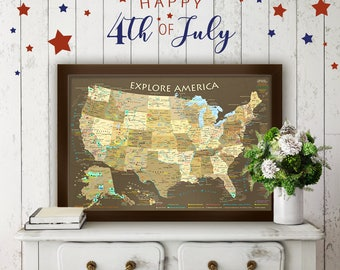 US Map National Park Map Poster Illustrated USA Map - Wall map of us national parks
