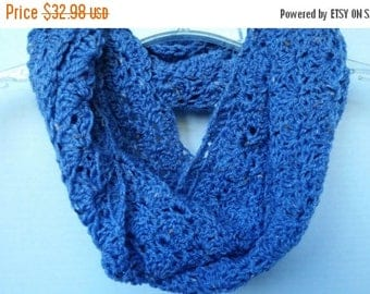 ON SALE Scarf Infinity Cowl - Scarves for Women, Circle Scarf, Blue Crochet Scarf, Neckwarmer, Shell Stitch Scarf, Handmade Scarf, Gifts for