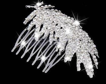 Hair comb crystal feather pin decorative comb