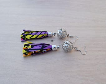 African Fabric Tassel Earrings, Hoop Earrings, Dangle Earrings, Gift for women, Bijoux Africains, Ankara Fabric