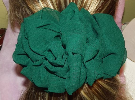Becky Bows ~OOAK ROSETTE Barrette Hand crafted giant huge Scarf BIG hair bow Women or Girls dark green chiffon