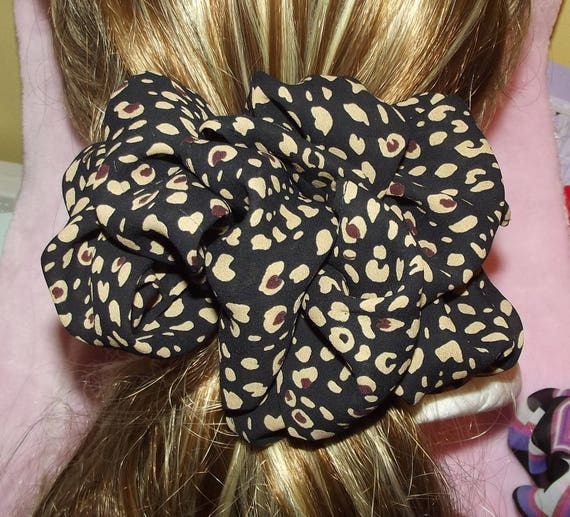 Becky Bows ~OOAK ROSETTE Barrette Hand crafted giant huge Scarf BIG hair bow Women or Girls brown tan leopard spots