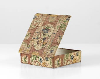 Tapestry cardboard box, textile box, antique gobelin box, rose textile box, tapestry box