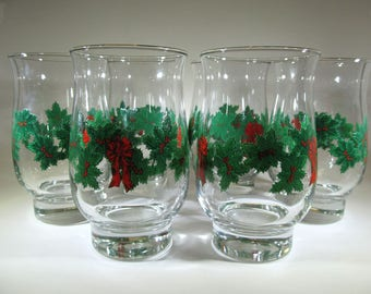 Vintage Set of 6 Libbey Christmas Glasses / Holiday Glasses  / Vintage Glassware / Vintage Kitchenware / Christmas Decor
