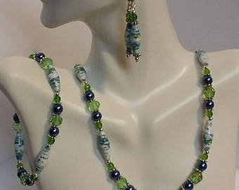 Blue, Green, White Paper Bead Necklace Set