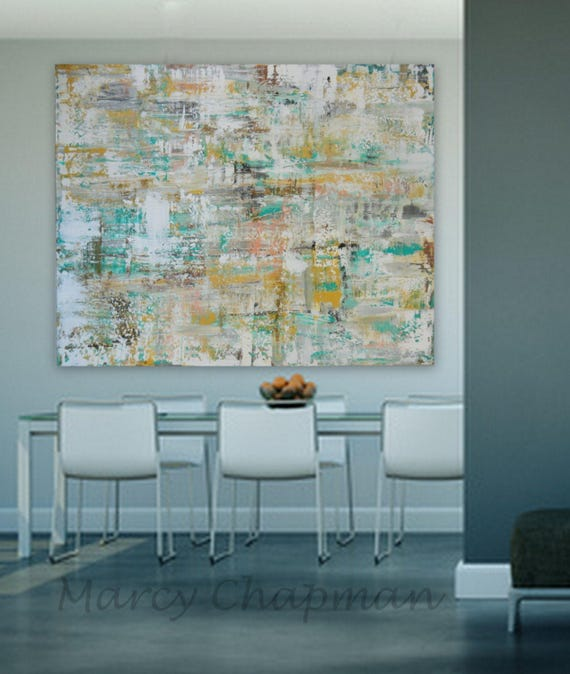 "Large  Modern Abstract xxl Huge 60"" x 48"" Original painting EXTRA LARGE gray silver, gold yellow, cream white, brown, turquoise/blue , pink"
