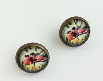 Stud Earrings Red & Blue Birds Cameo 12mm Round Cameo Studs Jewellery Gift