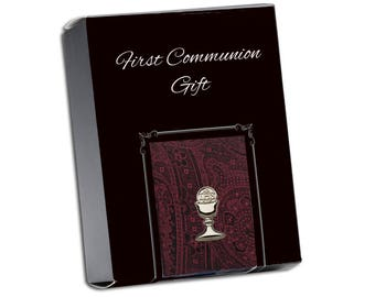 First Communion Burgundy Paisley Tie with Silver Chalice Tie Pin Gift Set in Gift Box (FCTB-Burgundy Paisley)