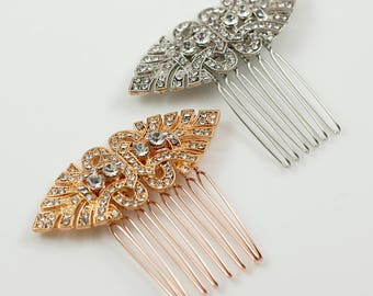 Small Art Deco Silver or Rose Gold, Bridal Hair Comb, Bridesmaids  Accessory Vintage Style