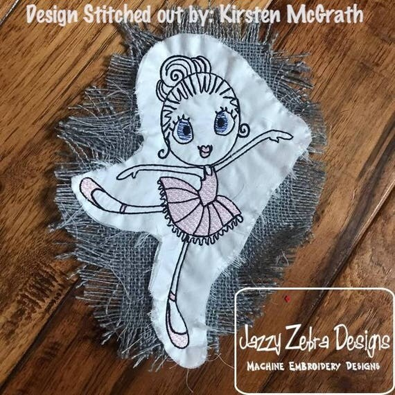 Swirly Ballerina 2 Sketch embroidery design - Ballerina embroidery design - ballet embroidery design - girl embroidery design - dance