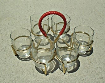 French shot Glasses , Mad Men drink Glasses,french Riems shot Glasses with Rack,Vintage shot Glasses With Caddy - Atomic wire drink Caddy.