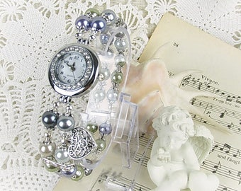 Wrist watch quartz watch bracelet ladies watch beads Crystal Rondelles