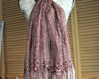Vintage. Scarf. Shawl. Brown. Silky/crochet. Long. Fringe. Beautiful shawl/scarf!