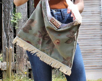 Handmade. Floral/fringe/sage/green/purse/handbag. Boho/pretty/hippie/country girl. Cute!