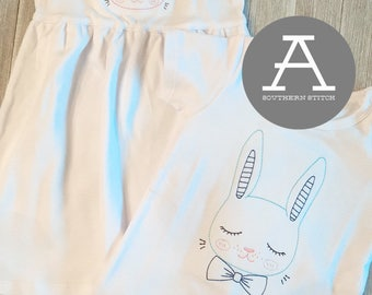 Vintage Bunny Sibling Set | Girl and Boy Bunny | Vintage Stitch | Easter Shirt
