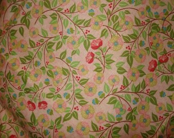 "Calico print cotton fabric Zinnas, Mums Green, Pink, Rose Flowers on pink background 2 yards & 30 inches 44 "" wide"