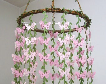 Baby Mobile Hanging,Butterfly Mobile,Girl,Boy,Nursery decor,Crib Mobile,Woodland Kit,Baby Shower,Birthday,Gift,Wedding Chandelier Art,Pink