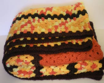 Vintage Afghan Crocheted Bright Retro Throw Handmade FAB 70's Decor