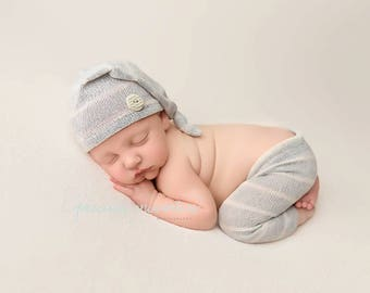 RTS NEWBORN PANT set, baby photo prop, striped, stretch knit, for photo shoot, elf hat, blue, grey, boy outfit, handmade, ready to ship