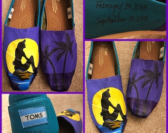 Custom painted Little Mermaid Toms. Designed and personalized just for you!