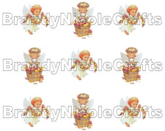 4x6 Fall Angels Digital Bottle Cap Images - INSTANT Download - 1 inch