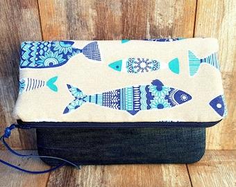 FISH FOLDOVER CLUTCH Denim Linen Cotton Canvas Sturdy Practical Knitting Crochet Project Bag Storage Organiser Case Cosmetic Makeup Beauty