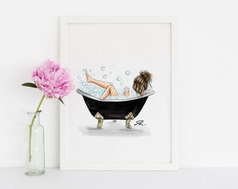 Bubbly Bath (Fashion Illustration Print)