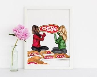 Pizza Party (Fashion Illustration Print)