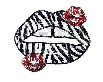 Lips sequins patch vintage embroidered patch applique