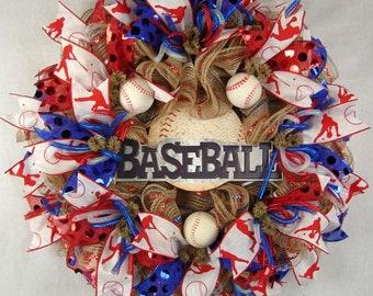 Baseball Ruffled Mesh Wreath, Baseball Wreath, Baseball Mesh Wreath, Sports Wreath